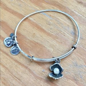 Alex & Ani Silver Oyster & Pearl Charm Bracelet